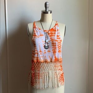 Emma & Sam Tye Dye Fringe Orange Top
